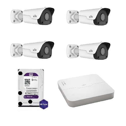 Kit Supraveghere video IP POE cu 4 camere de exterior, 3mp, IR 30m - UNV